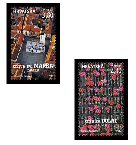 Poštanske marke s motivima tržnice Dolac i crkve svetog Marka